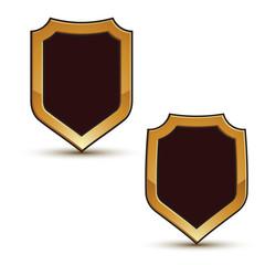 Renown vector black shield shape emblems with golden borders, 3d