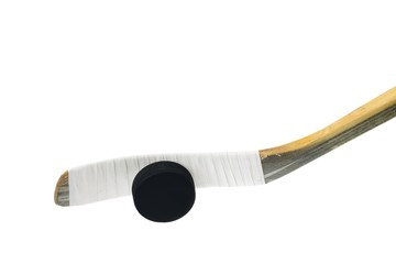 hockey stick and hockey puck