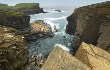 Scottish landscape in Orkney. Yesnaby cliffs. Scotland