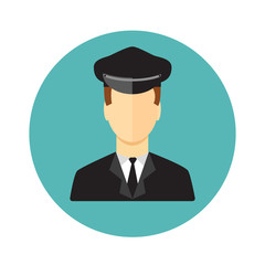 Limo driver. Limousine driver icon. Flat style. Vector illustrat