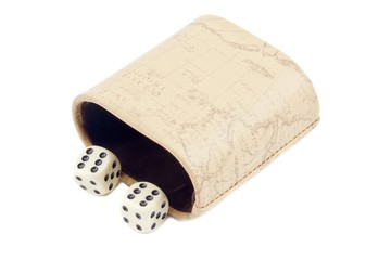 pair of dice with leather case