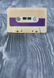 Music template postcard. Violet audio cassette