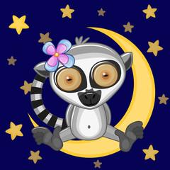 Cute Lemur on the moon
