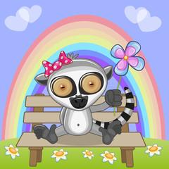 Lemur with flower