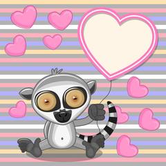 Lemur with heart frame