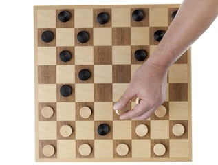 wooden checkers pieces