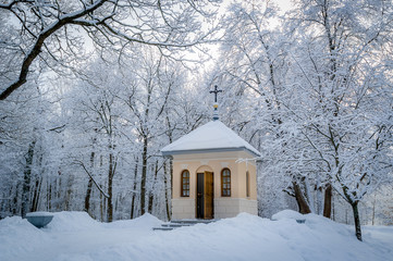 Church in winter forest
