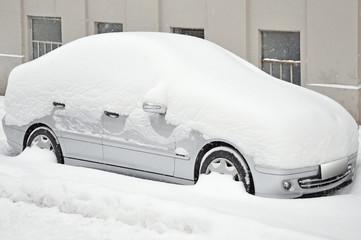 schnee auf auto, winter
