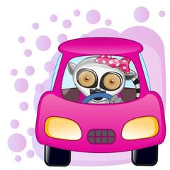Lemur girl in a car