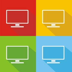 Iconos monitor colores sombra