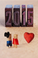 Wedding invitation 2015 Groom and bride Clothespins (Soft focus)