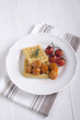 waffle and chicken meatball with thyme