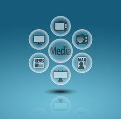 Media communication icons in crystal ball