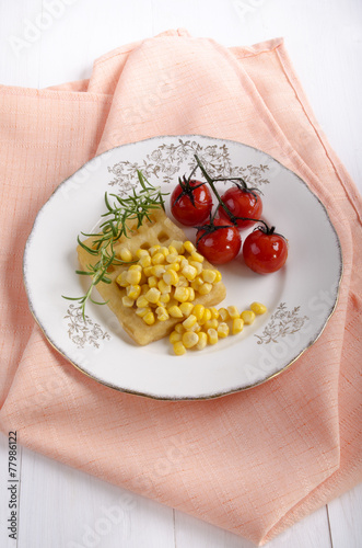 canvas print picture potato waffle with sweet corn