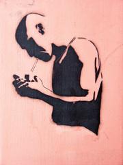 Graffiti Street Art Mann mit Zigarette