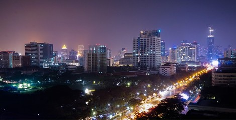 Night View of Bangkok City