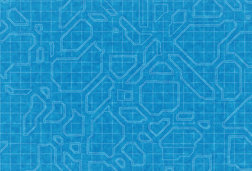 blue scheme of top view city plan on graph paper