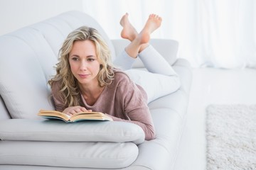 Thoughtful lying on couch reading book