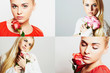 collage of beautiful young women.girls with flowers.roses