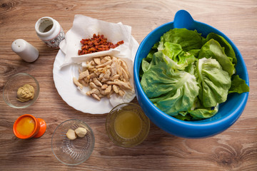 Ingredients for Caesar salad
