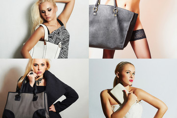 Fashion collage.beautiful women with handbag.Spring Shopping