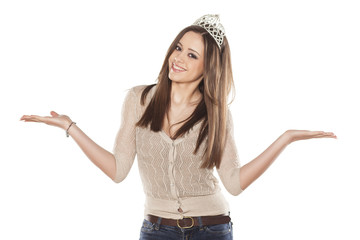 pretty miss with tiara and jeans on white background