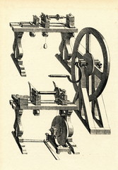 Hand and pedal operated lathes from early 18th century.