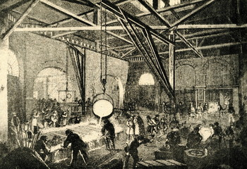 Casting in the foundry ( Borsig-Werke factory, Berlin, 1840)