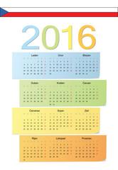 Czech 2016 vector color calendar.