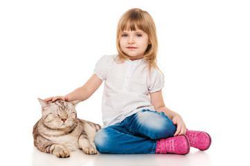 Little girl playing with a British cat