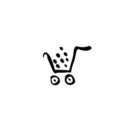 Vector black shopping cart icon, illustrated trolley isolated on