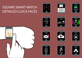 Flat design square smart watch vector illustration with hands