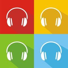 Iconos headphones colores sombra