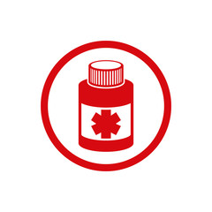 Medical bottle vector icon isolated.