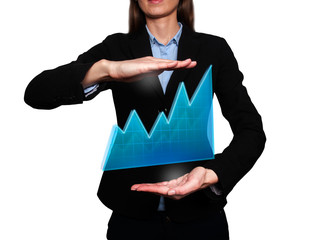 business woman - growth and success graph. White background