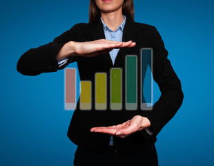 business woman - growth and success graph
