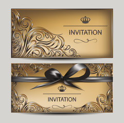 Vintage invitation cards with floral design elements and ribbon