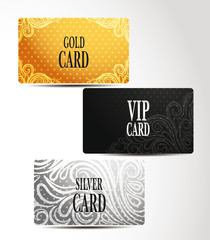 Gold, silver and VIP cards with floral design