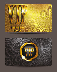 Gold VIP cards with floral design