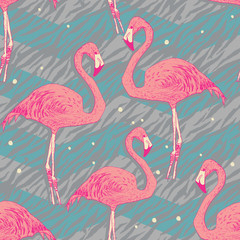 Seamless pattern with flamingo birds