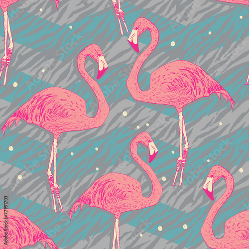 Seamless pattern with flamingo birds © julia_blnk