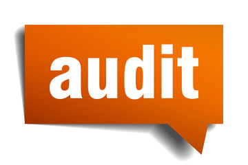 audit orange speech bubble isolated on white