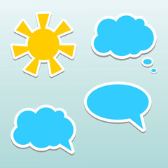 Set of speech bubbles, cloud and sun.