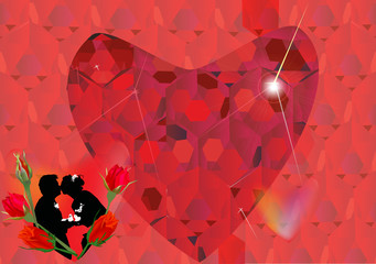 heart and rose flowers on red background
