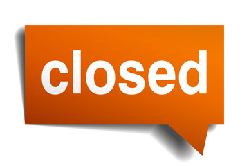 closed orange speech bubble isolated on white