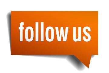 follow us orange speech bubble isolated on white