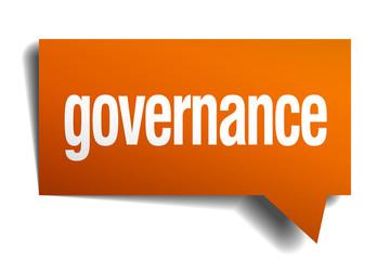 governance orange speech bubble isolated on white