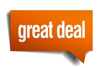 great deal orange speech bubble isolated on white