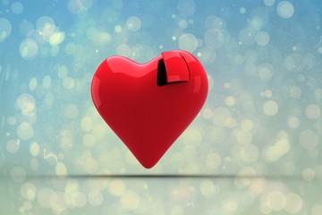 Composite image of heart with open door
