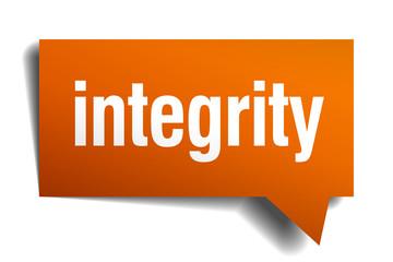 integrity orange speech bubble isolated on white